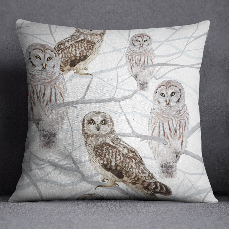 Snow and Owls Decorative Throw and Pillow Cover Set