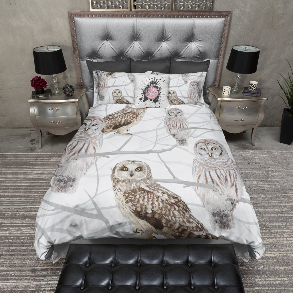 Snow and Owls Bedding