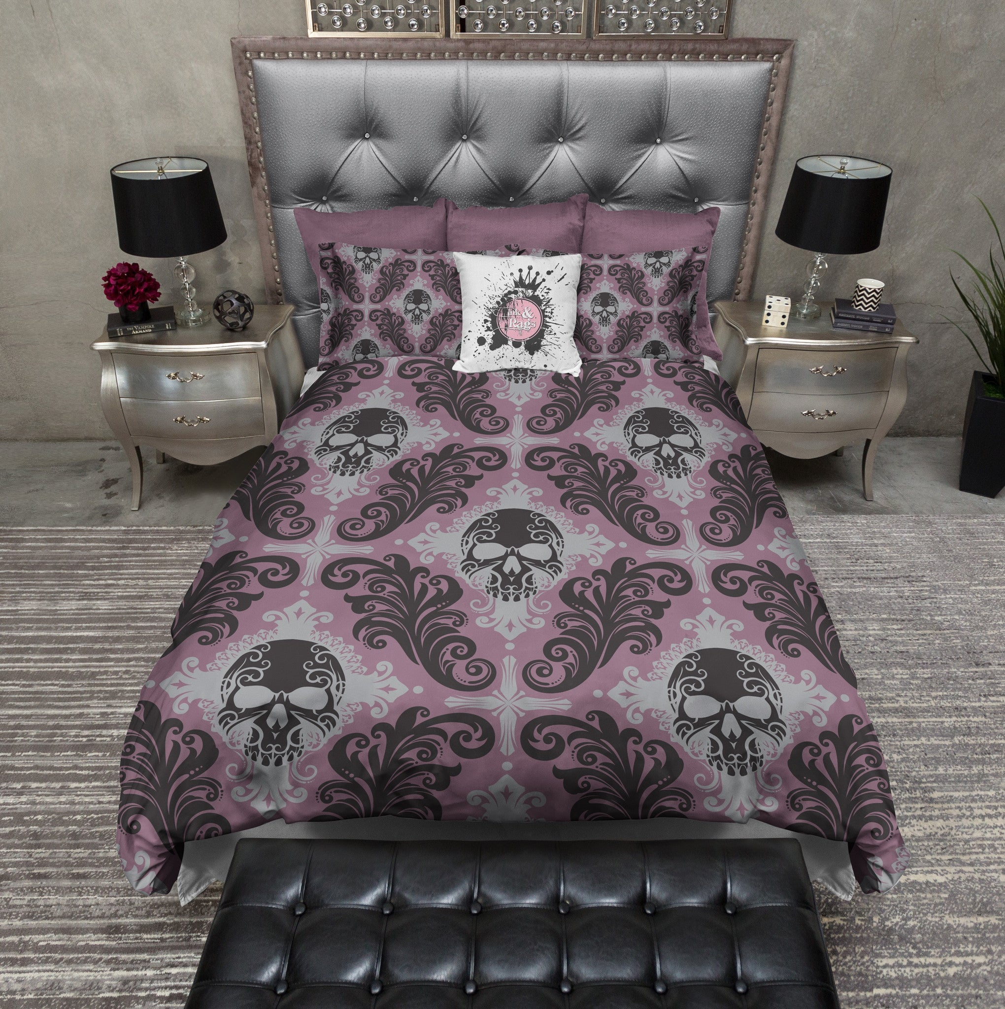 Purple Gothic Damask Skull Bedding Ink And Rags