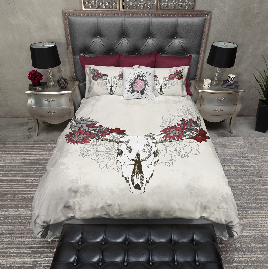 Red and Cream Cow Skull Bedding Collection