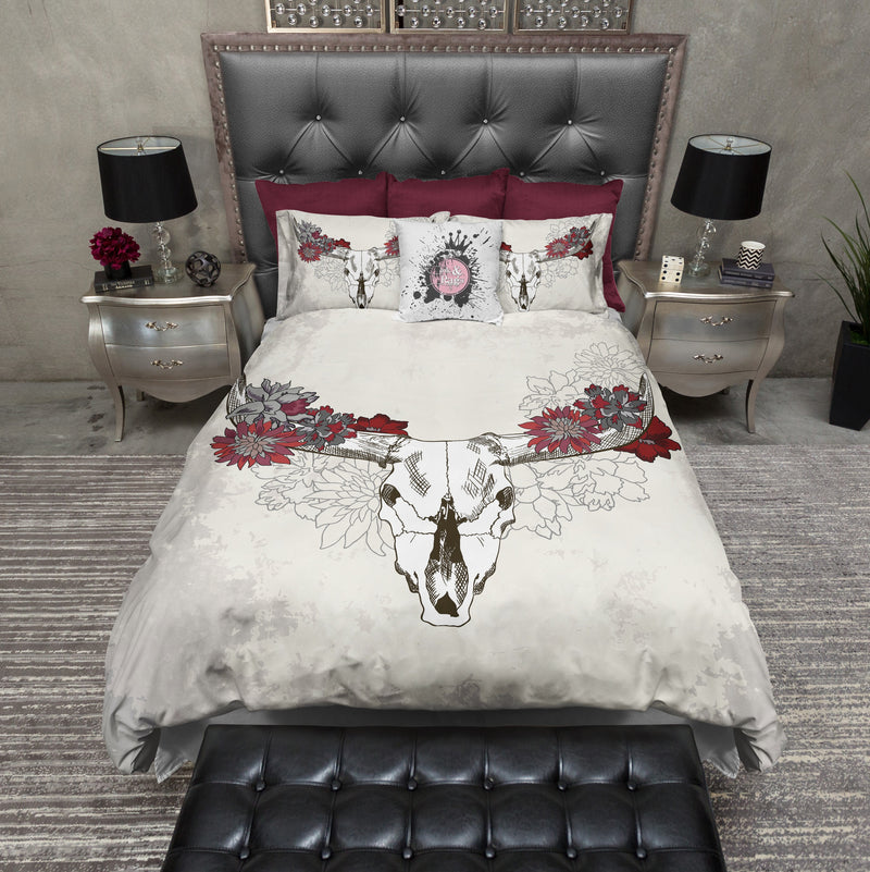 Red and Cream Cow Skull Duvet Bedding Sets