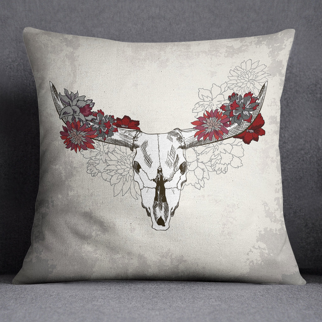 Red and Cream Cow Skull Decorative Throw Pillow Cover