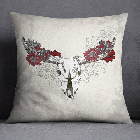 Red and Cream Cow Skull Decorative Throw Pillow