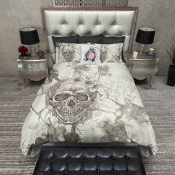 Beige on Cream Watercolor Skull Bedding CREAM
