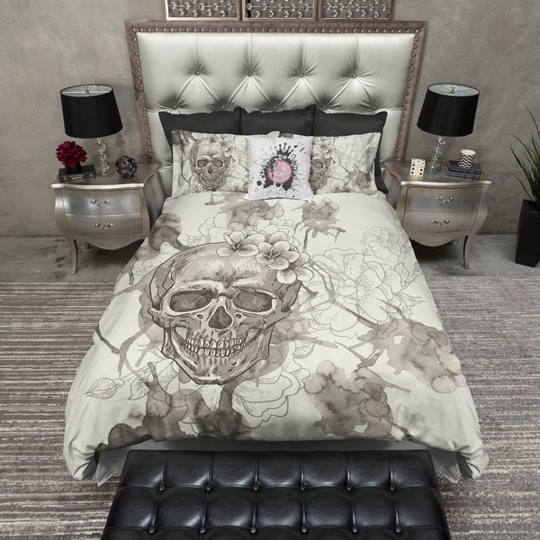 Beige Watercolor Skull Bedding