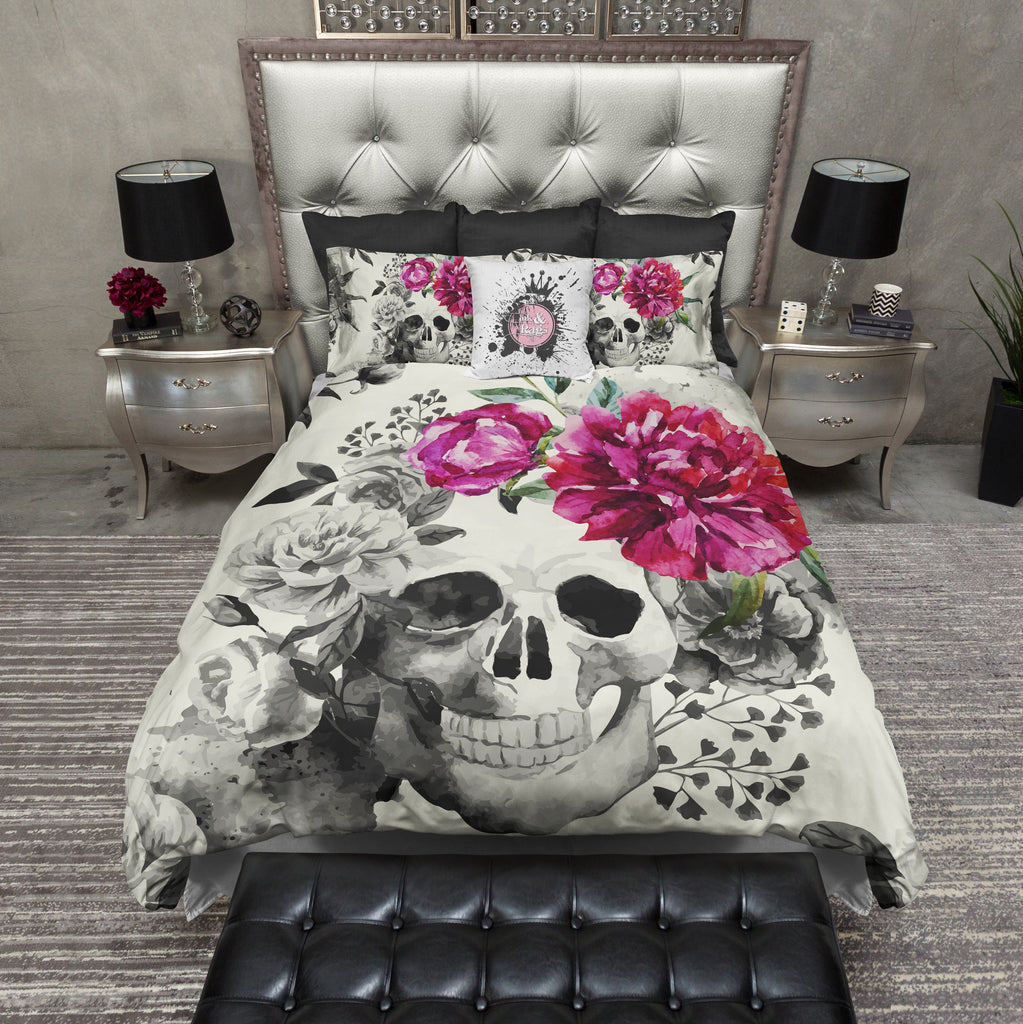 Pink Flower Watercolor Skull Duvet Bedding Sets