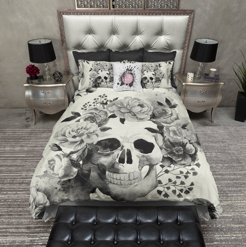 Black and Cream Watercolor Skull Duvet Bedding Sets