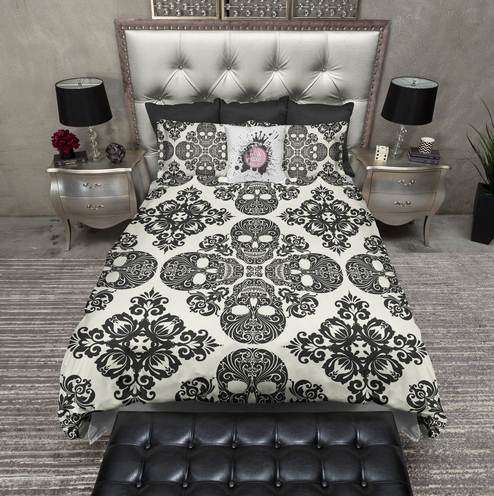 Diamond Black and Cream Skull Duvet Bedding Sets