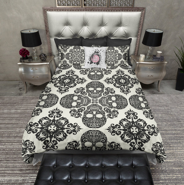 Black Diamond Skull Bedding CREAM