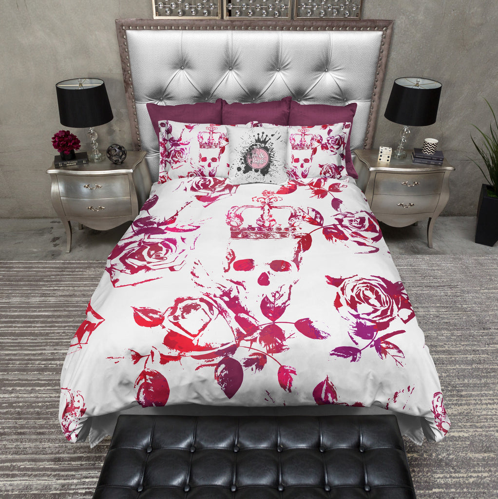 Red and Purple Crown Rose Skull Bedding Collection