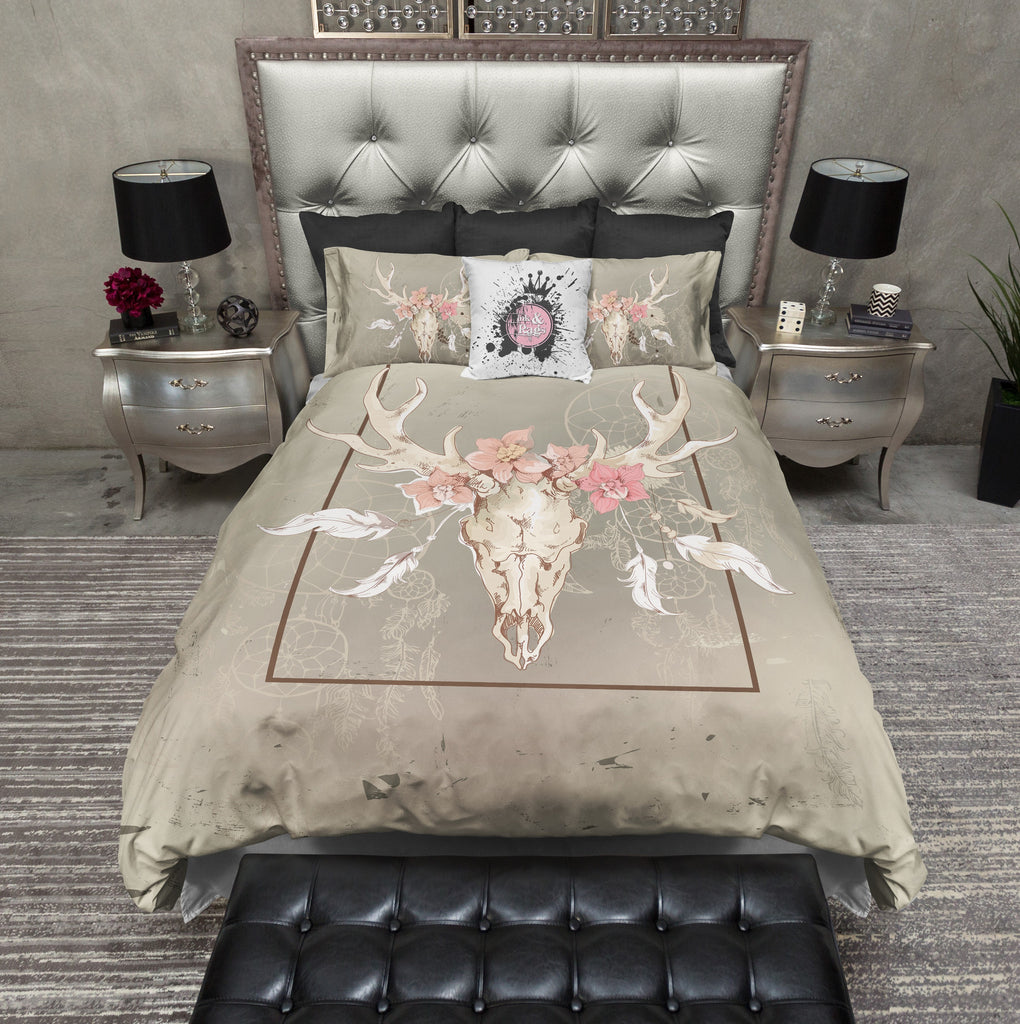 Dreamcatcher Floral Buck Skull Bedding Collection