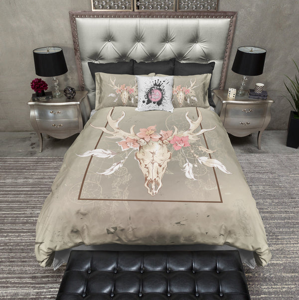Dreamcatcher Floral Buck Skull Bedding