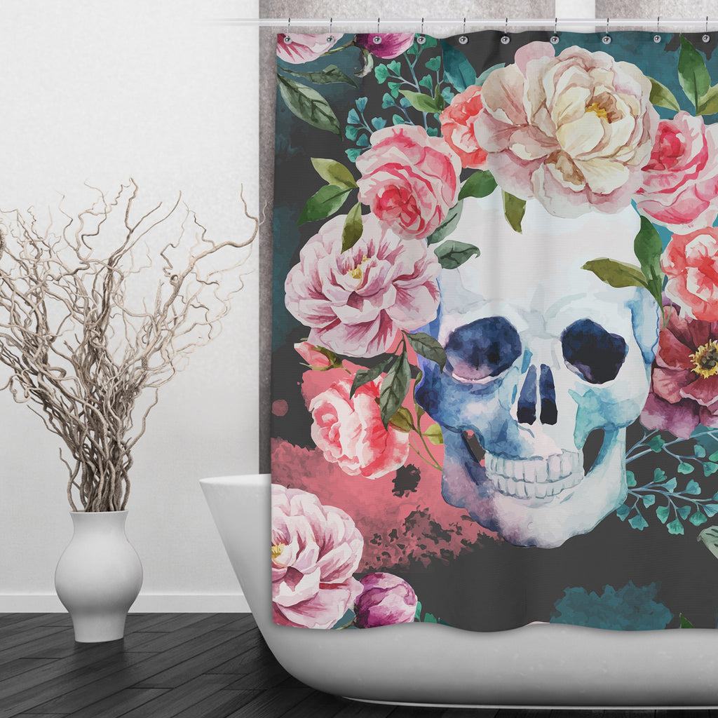 Green Watercolor Floral Skull Shower Curtains and Optional Bath Mats