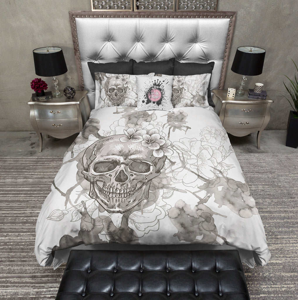 Beige on White Watercolor Skull Duvet Bedding Sets