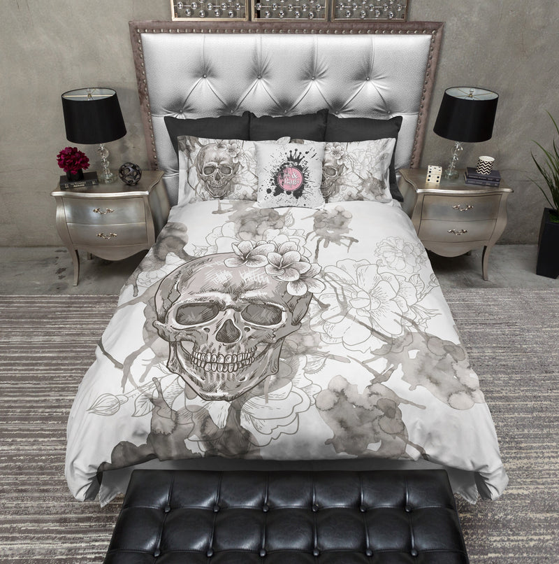 Beige on White Watercolor Skull Bedding