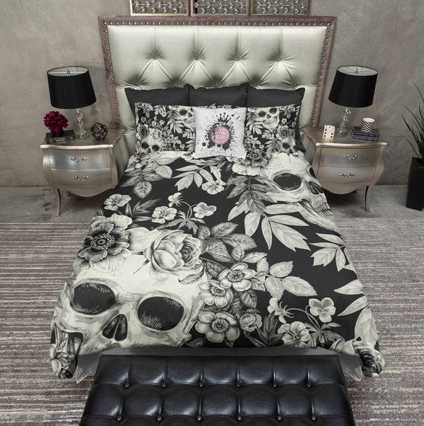 Cream on BlackPrint Skull Bedding CREAM