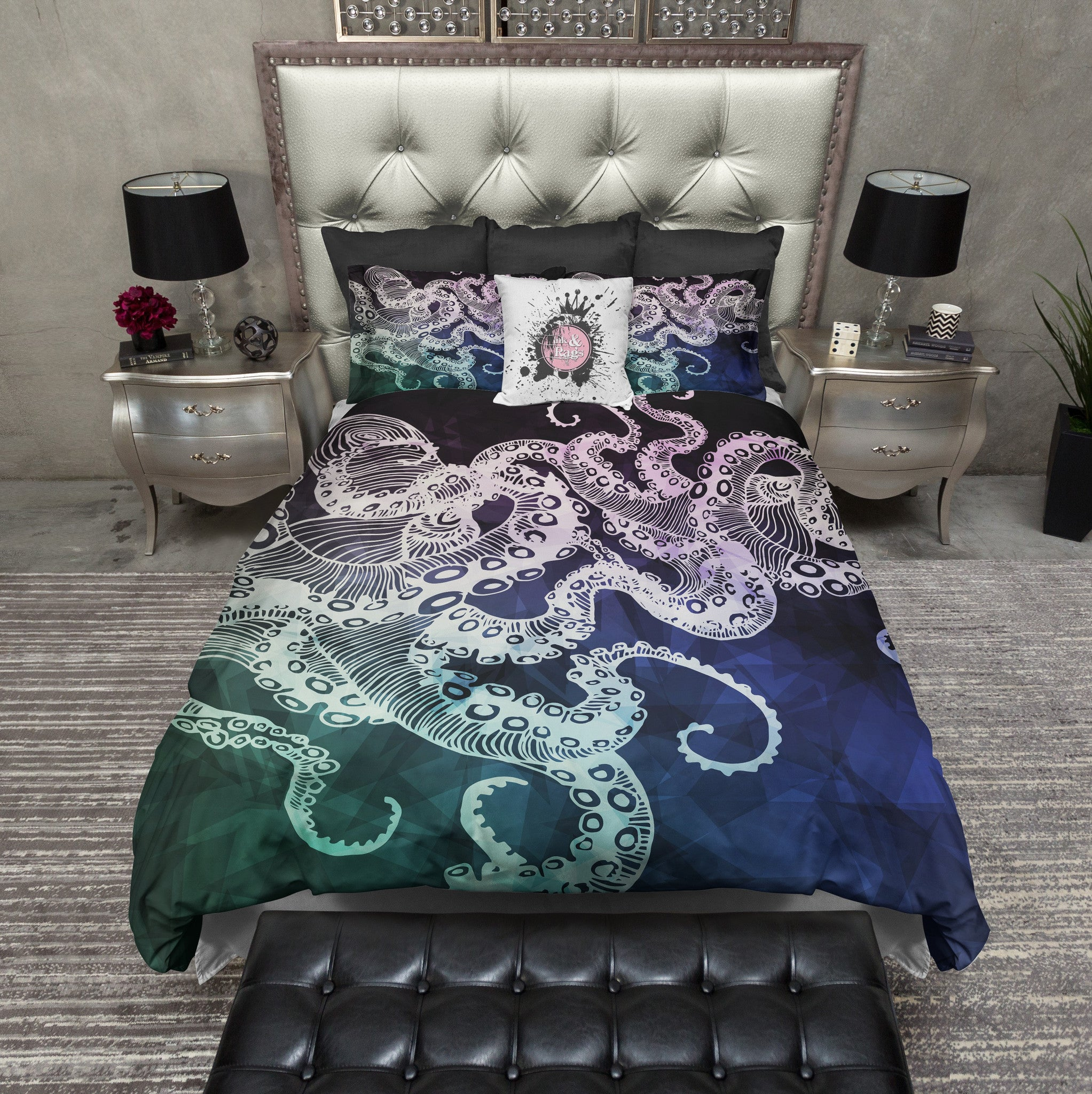 Midnight Octopus Bedding Cream Ink And Rags