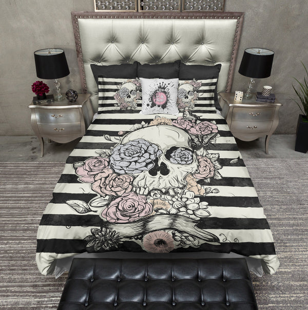 Pastel Flower and Skull Striped Bedding CREAM