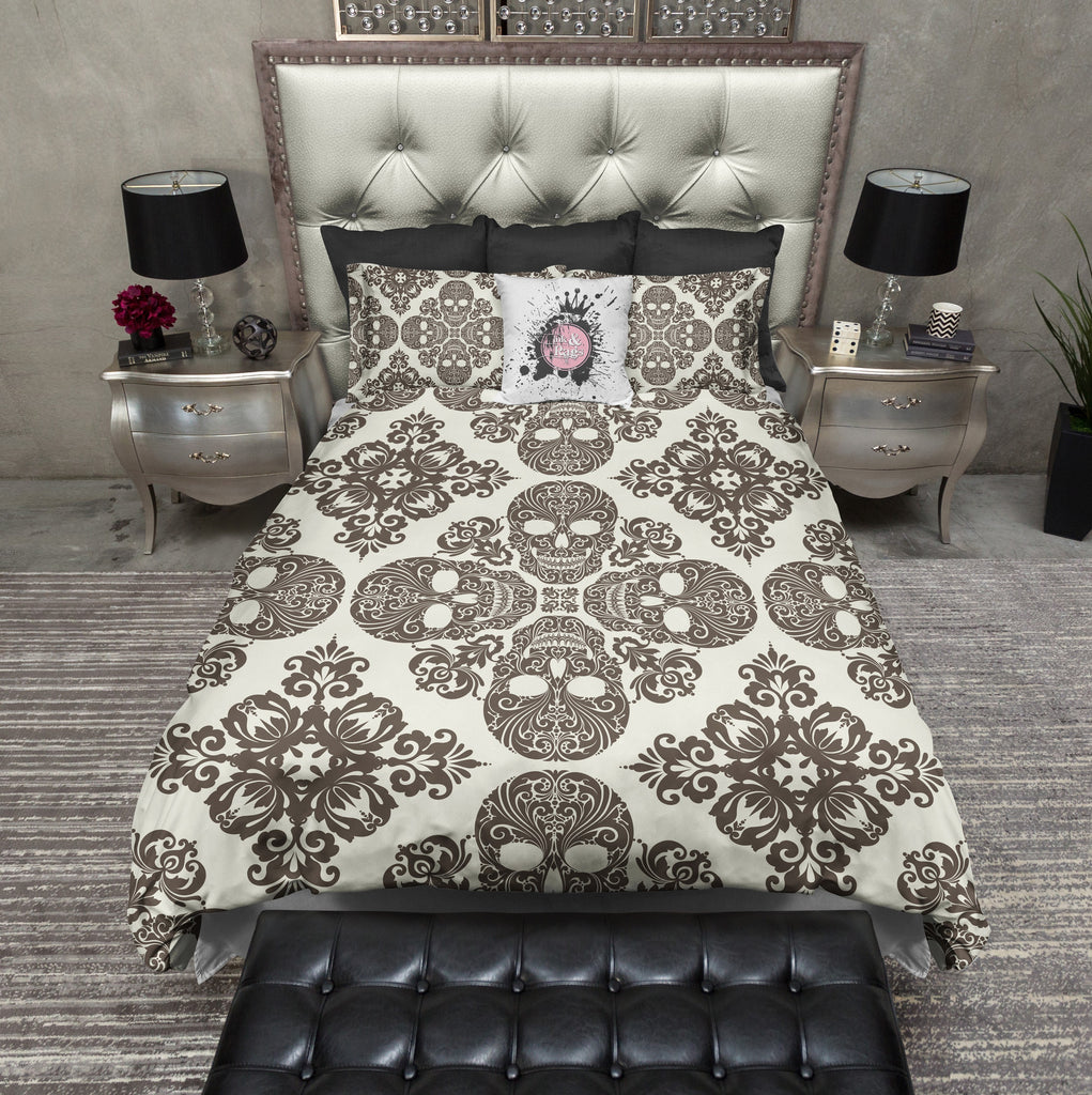 Diamond Brown and Cream Skull Bedding CREAM