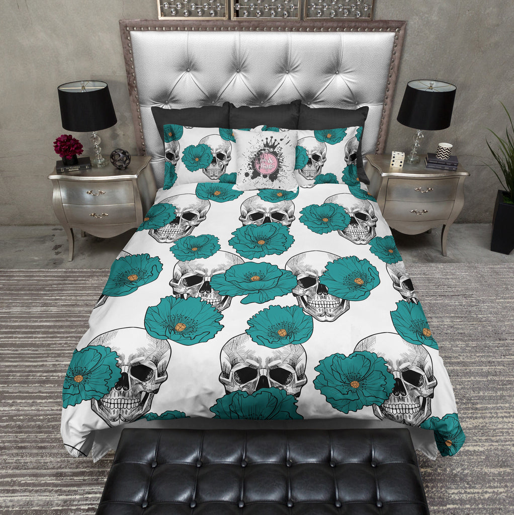 Teal Poppy And White Skull Bedding Ink And Rags