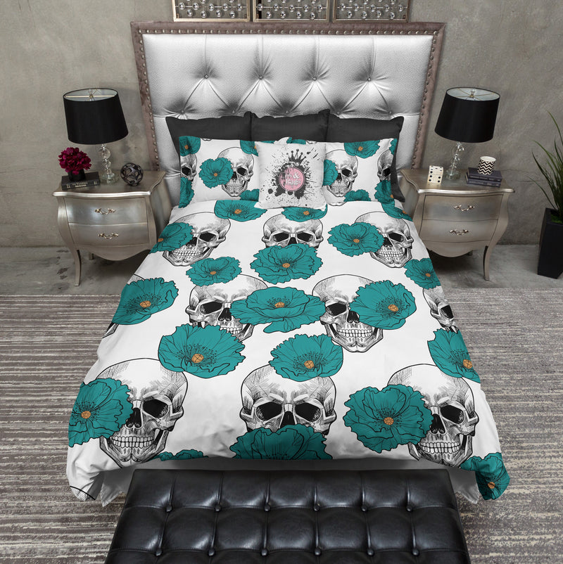 Teal Poppy and White Skull Bedding