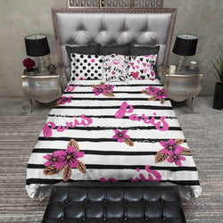 Pink Paris Stripe Bedding