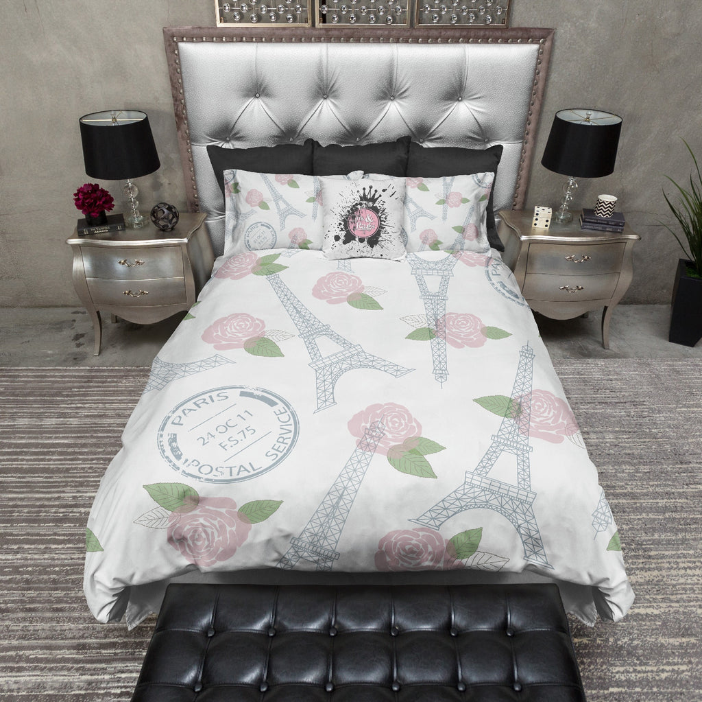 Eiffel Tower Pink Rose Post Bedding