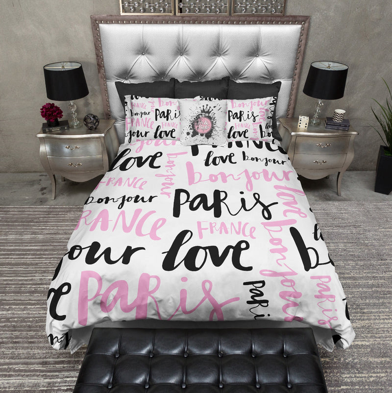 Love Paris Type Set Bedding