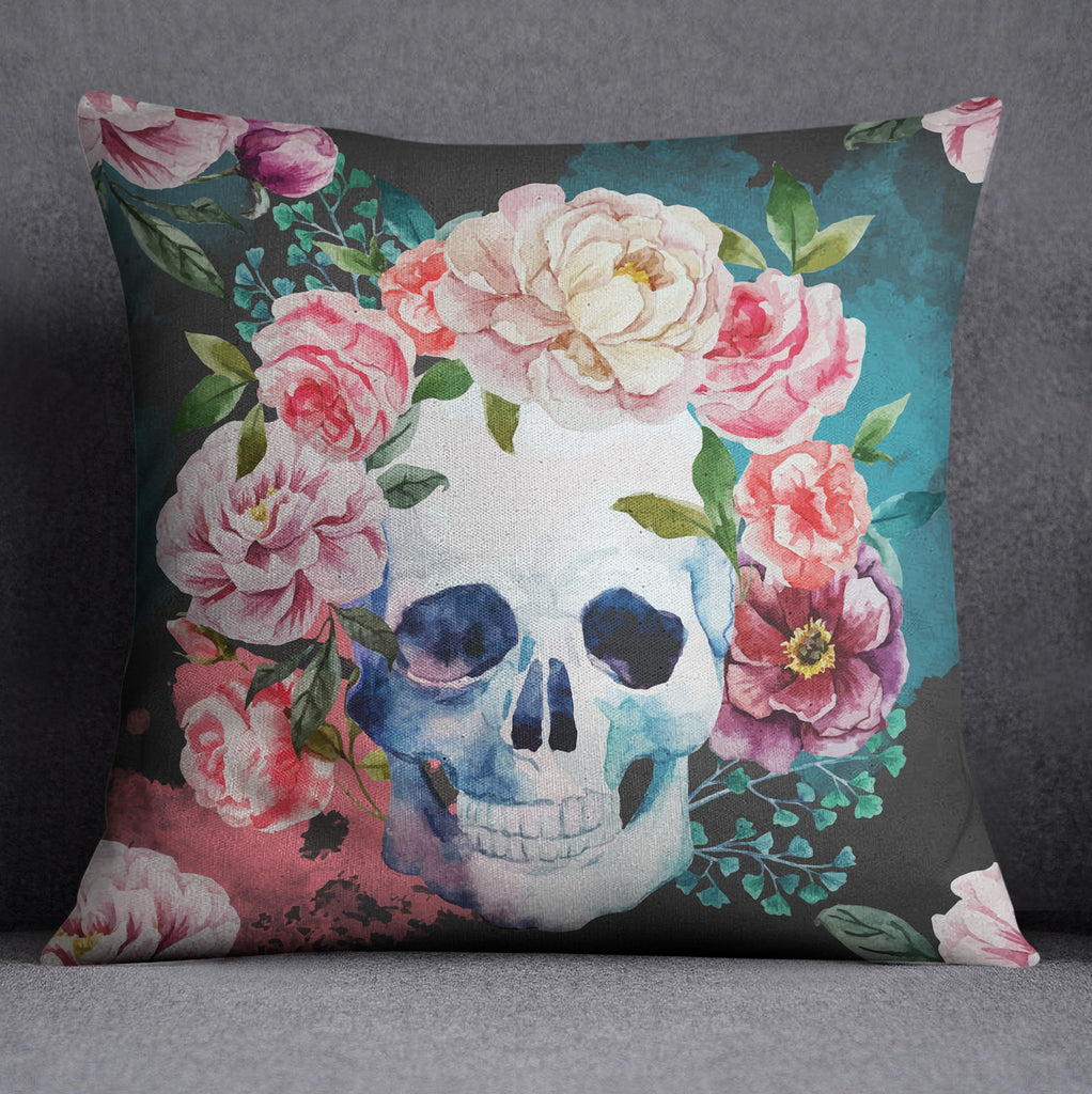 Green and Grey Watercolor Skull Decorative Throw Pillow Cover