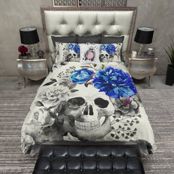 Royal Blue Flower Watercolor Skull Bedding CREAM