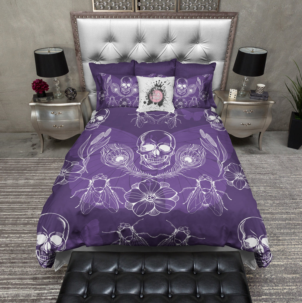 Purple Peacock Feather Skull Bedding Collection