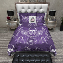 Purple Peacock Feather Skull Bedding