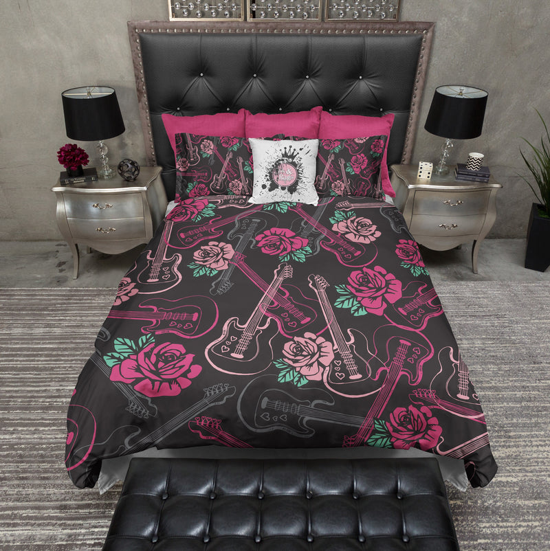 Rockabilly Guitar and Rose Bedding
