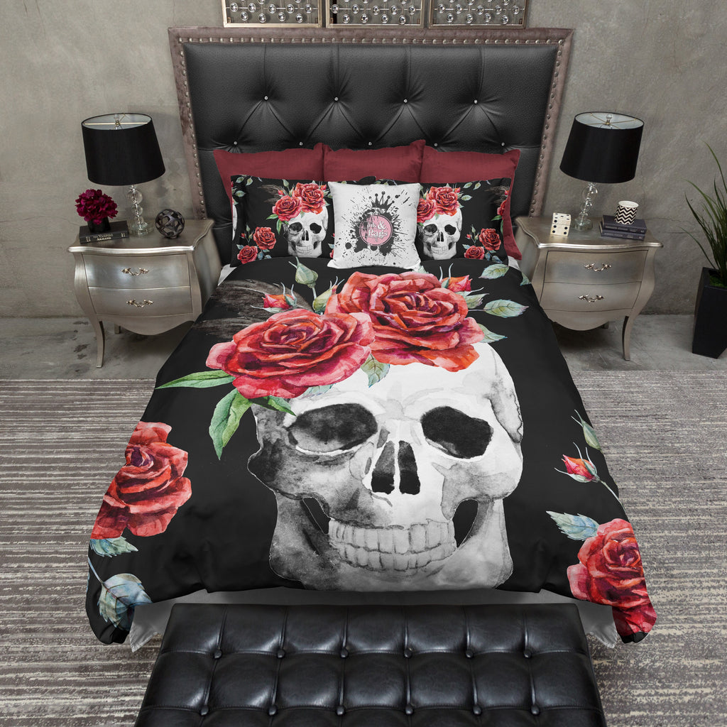 Red Rose Skull Bedding Collection