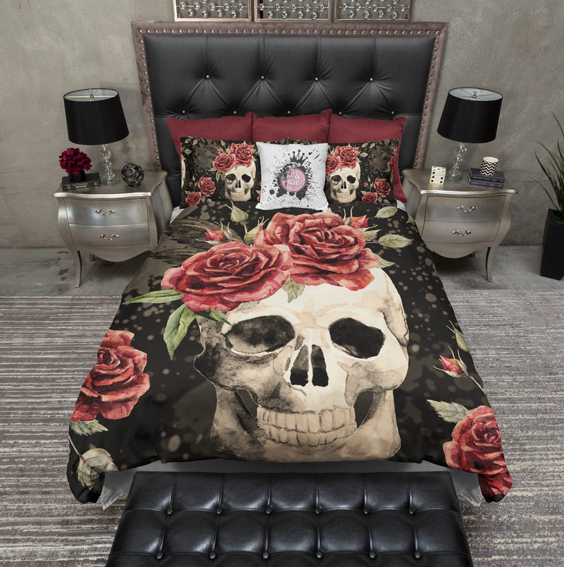 Antiqued Red Rose Skull Bedding CREAM