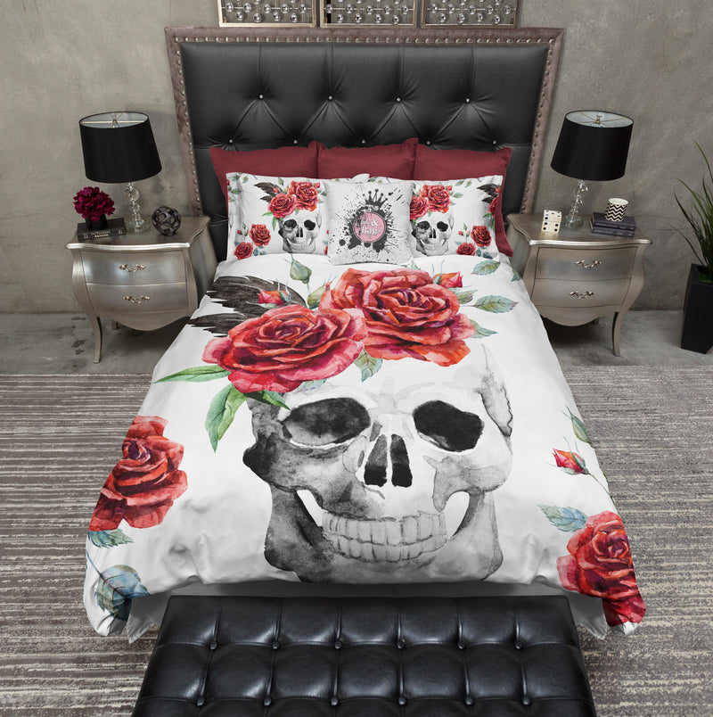 Red Rose on White Skull Bedding