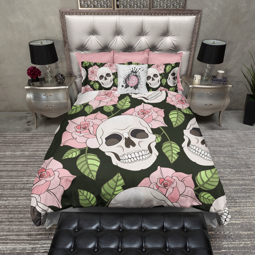 Pink Rose Skull Bedding