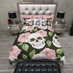 Pink Rose Skull Duvet Bedding Sets