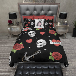 Rockabilly Heart Anchor Rose Bedding in BLACK