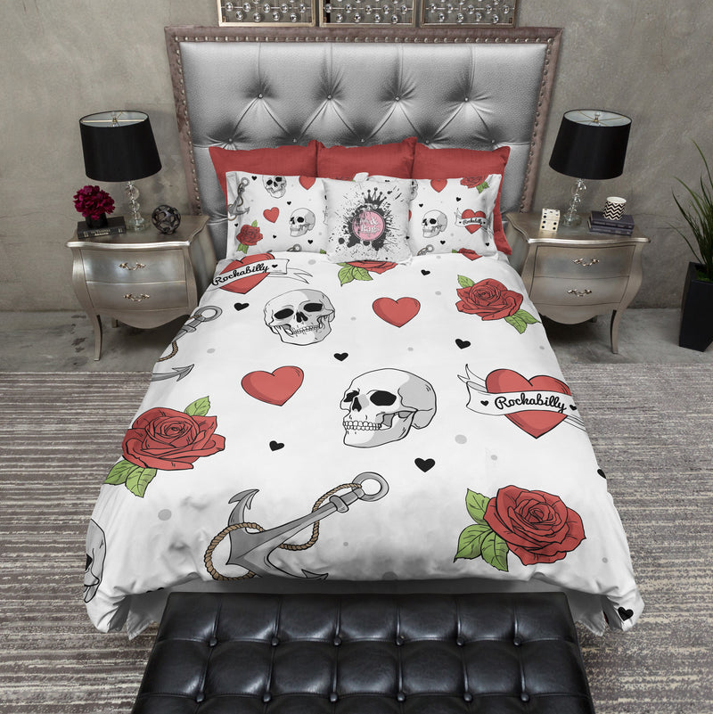Rockabilly Heart Anchor Rose Skull Duvet Bedding Sets in WHITE