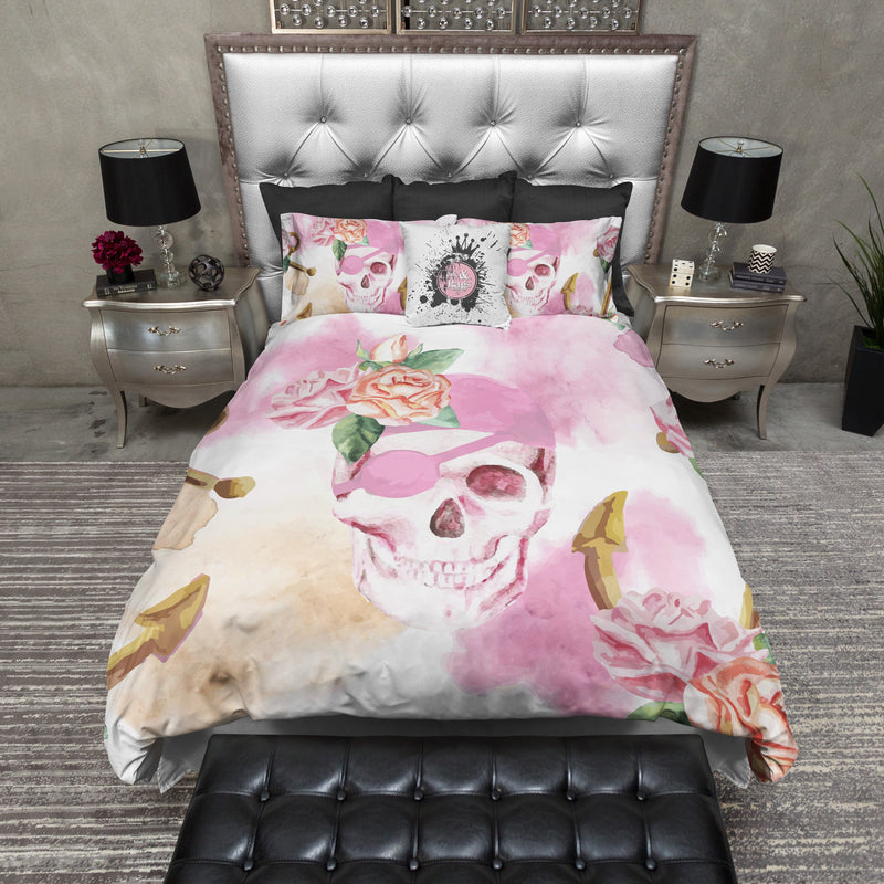 Pink Watercolor Anchor Pirate Skull Bedding