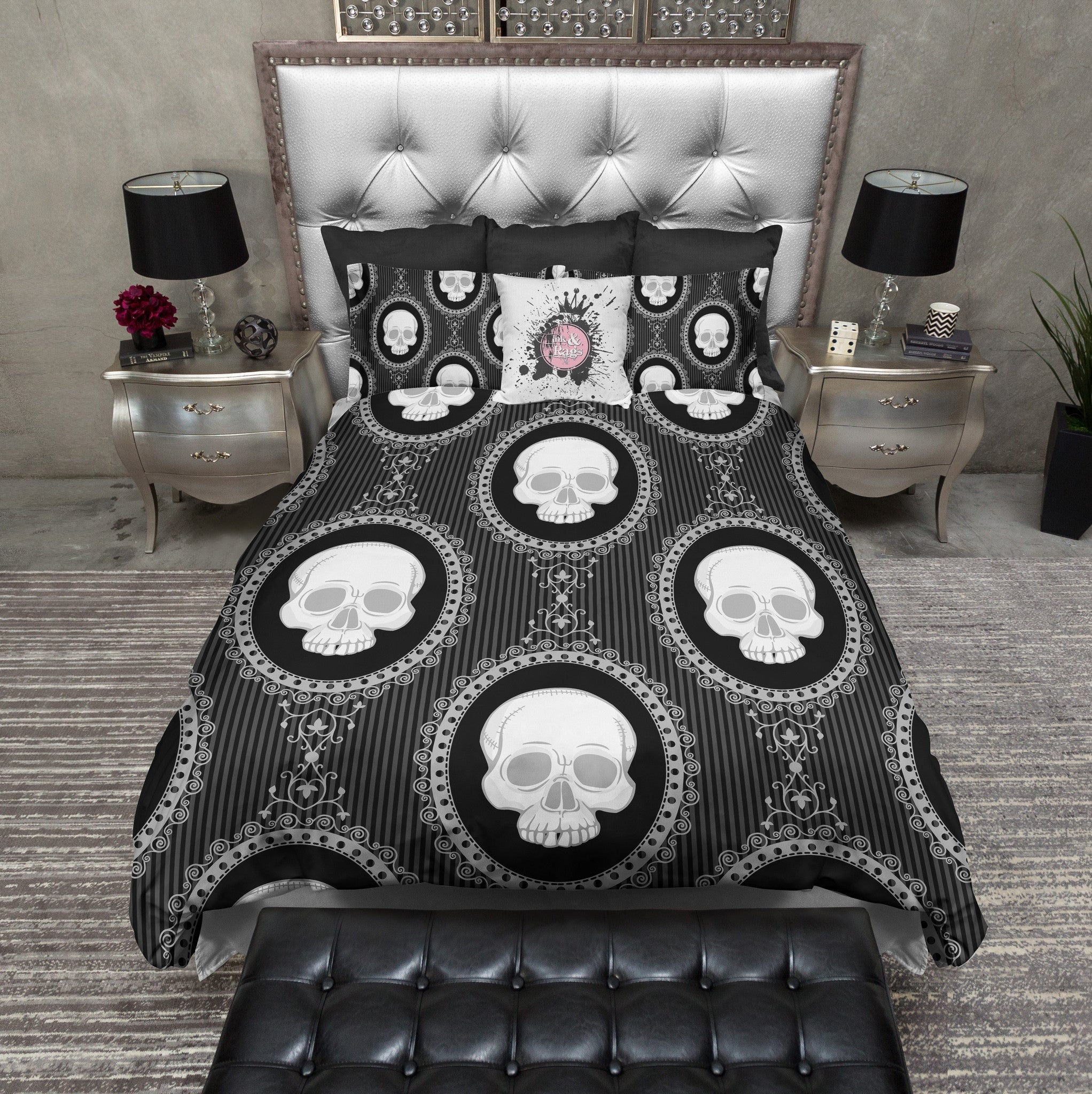 Black And White Cameo Skull Bedding Ink And Rags