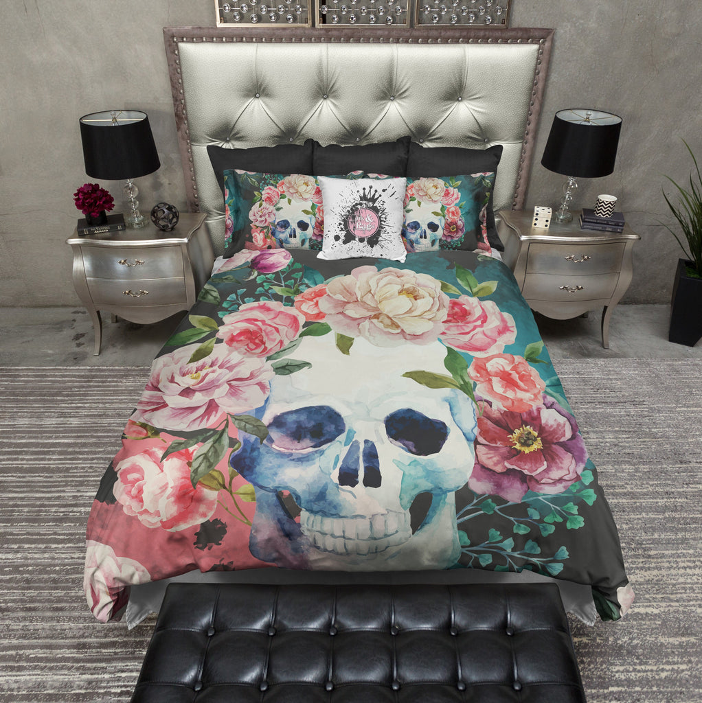 Green Watercolor Skull Bedding CREAM