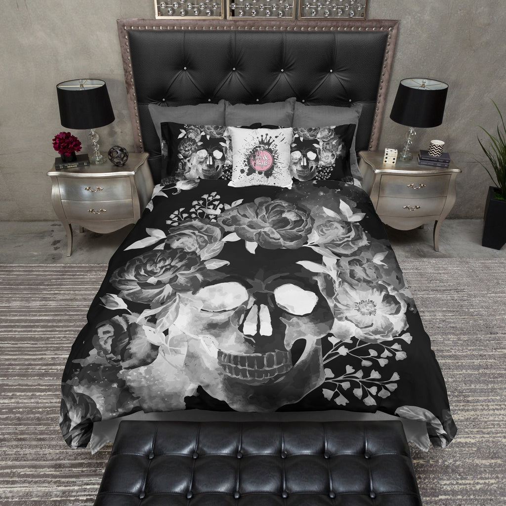 Black Night Watercolor Skull Bedding Ink And Rags