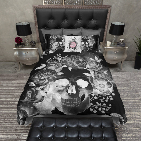 Black Night Watercolor Skull Bedding