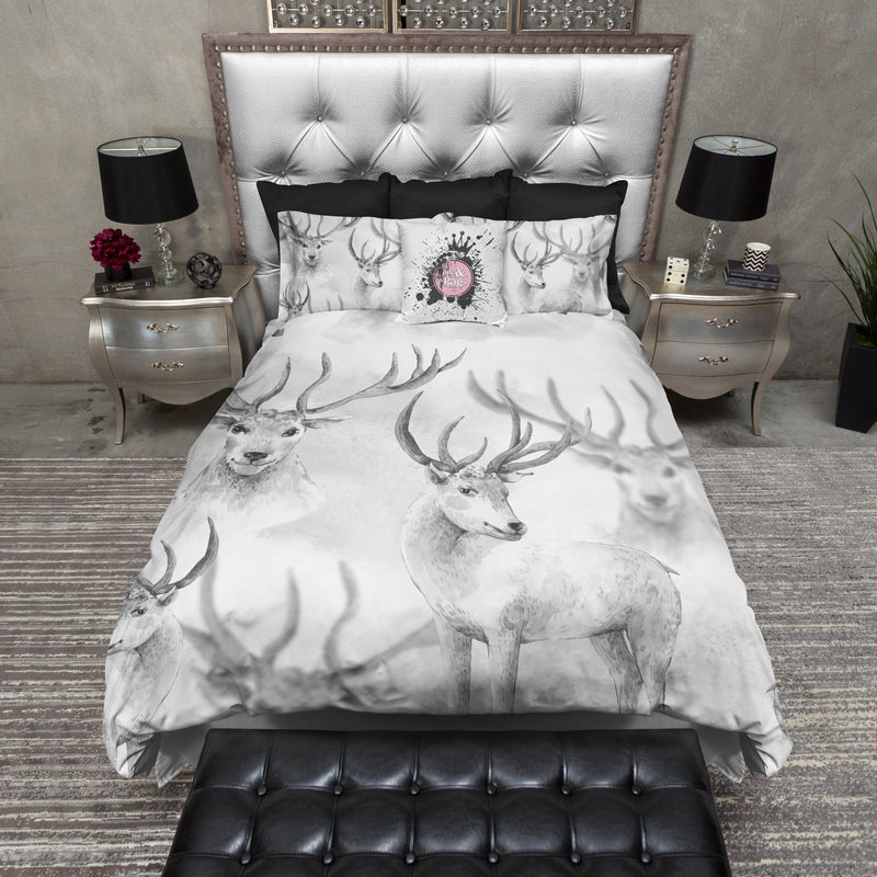 Watercolor Sketch Deer Antler Duvet Bedding Sets