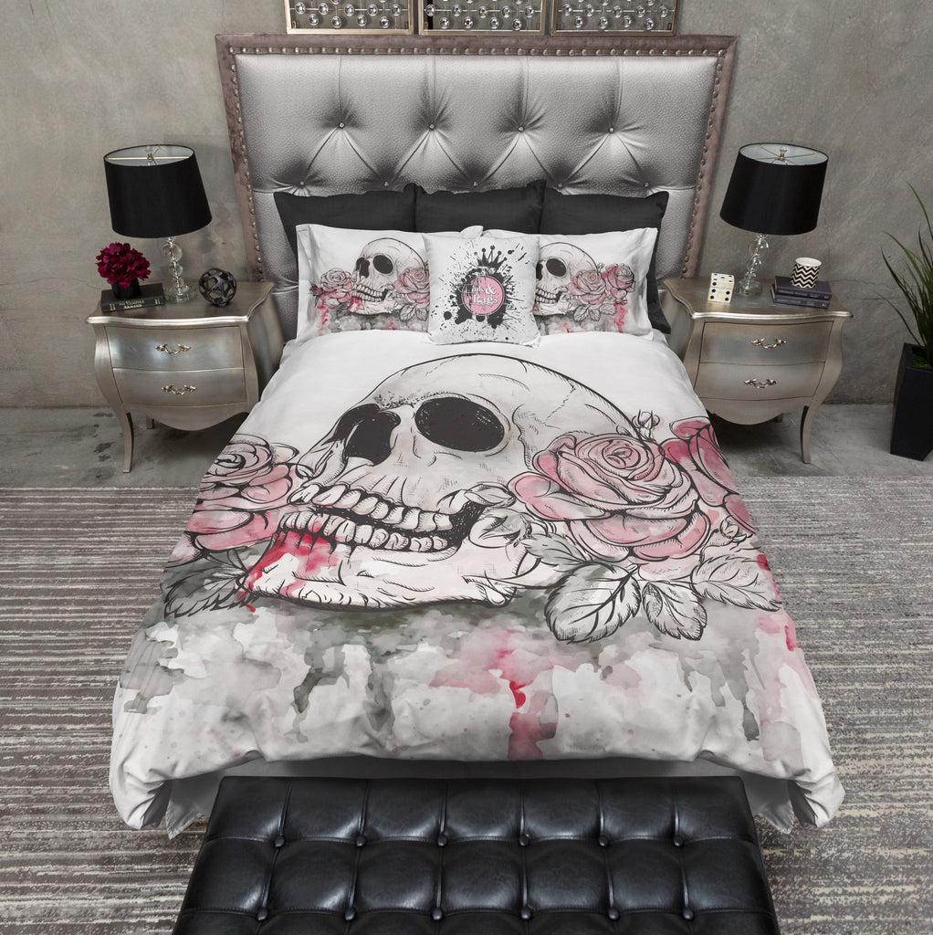 Bleeding Roses Watercolor Skull Bedding Collection