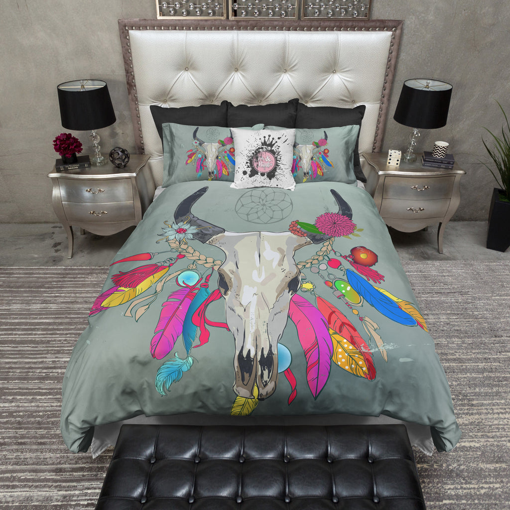 Boho Bright Color Bull Cow Skull Duvet Bedding Sets Ink