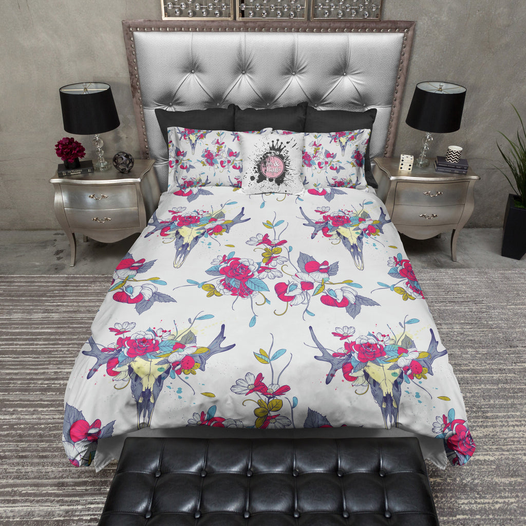 Bright Pink Flower Deer Buck Skull Bedding Collection