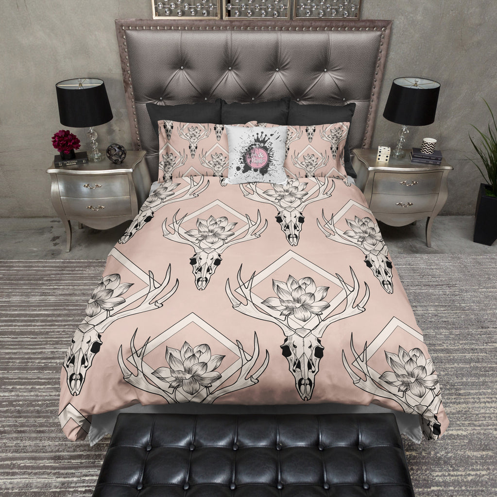 Diamond Deer Skull Duvet Bedding Sets